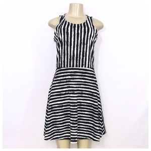 H&M Black & White Skater Dress Medium